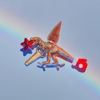Nieuwjaarsverhaal van hoe een gouden dinosaurus een kerstboom stal