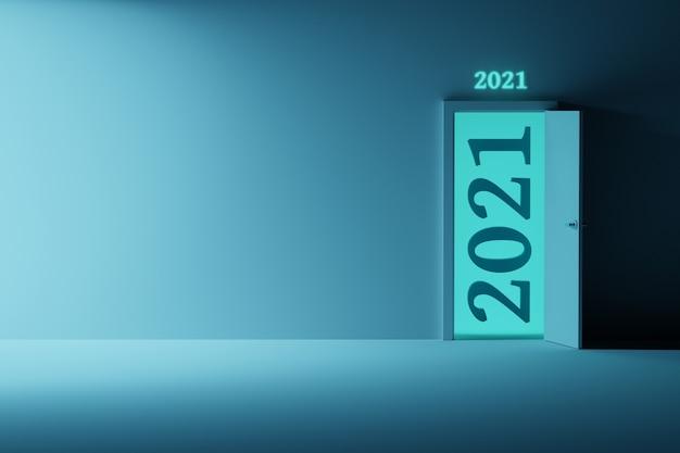 Nieuwjaarswenskaart met geopende deur en cijfers van 2021 en lege lege muur
