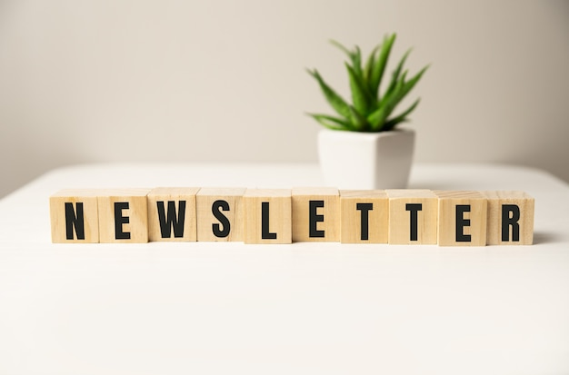 'nieuwsbrief' geschreven op houtblokken. bedrijfsconcept. kopieer ruimte. mooie witte achtergrond.