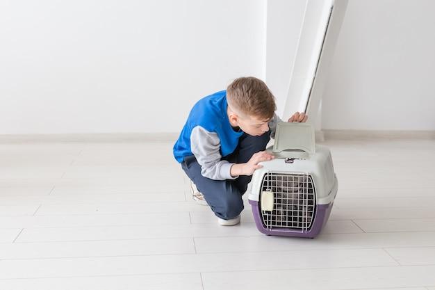 Nieuwsgierige kleine positieve jongen die op een kooi met een scottish fold kat kijkt. pet bescherming concept.