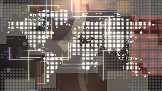 Nieuwsintro grafische animatie met raster en wereldkaart