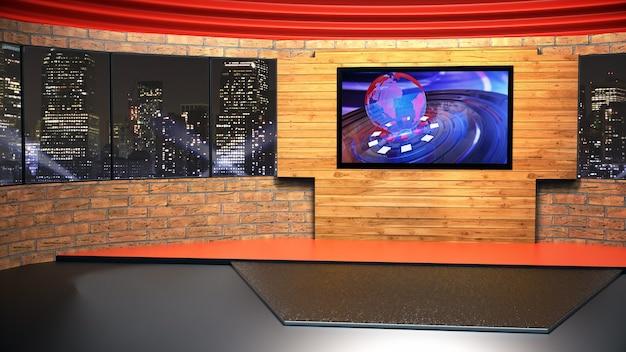 Nieuwsstudio voor tv-shows tv aan de muur. 3d virtuele nieuwsstudio