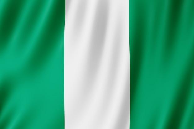 Nigeria vlag zwaaien in de wind.