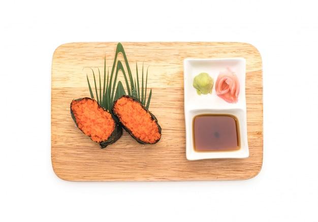 Nigiri sushi van garnalen met garnalen - japanse stijl van eten