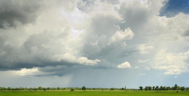 Nimbus bewolking over groen gebied vóór het regenen.