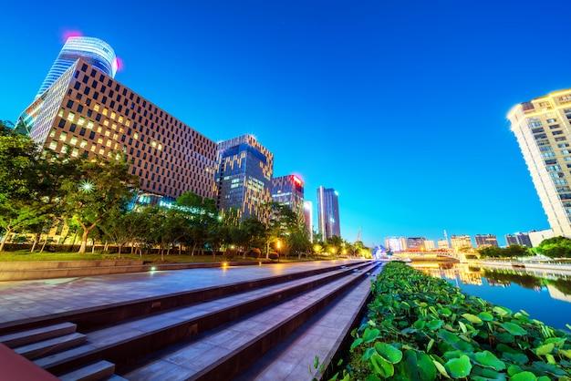 Ninbo city, china, nacht uitzicht