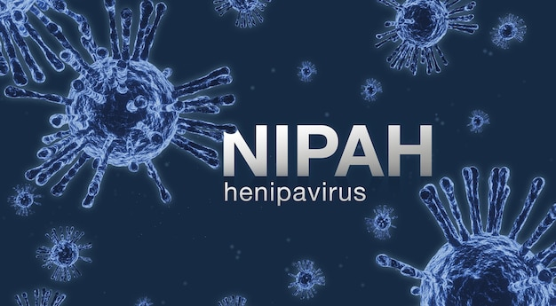 Nipah-virusconcept. microscoopvirus close-up., nipah henipavirus, hendra-virus, 3d-rendering.
