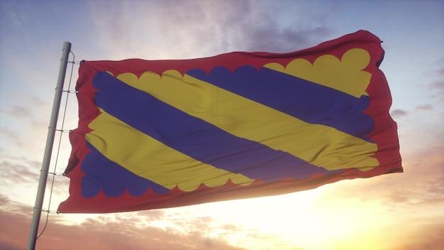 Nivernais vlag, frankrijk, zwaaien in de wind, lucht en zon achtergrond. 3d-rendering