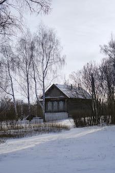 Nizhne ablyazovo, rusland - januari 02, 2016: russisch dorp nizhne ablyazovo in de winter in de regio penza