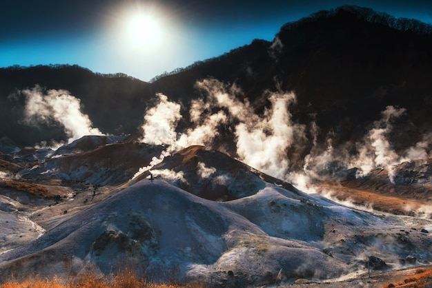Noboribetsu scenics landmark, jigokudani hell valley met zwavel misty