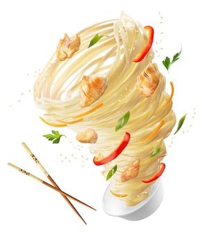 Noedels met groenten en kippenvlees in de vorm van een tornado houten stokken en een kom noedels, rode pepers, wortelen, uien en kippenvlees uitknippad
