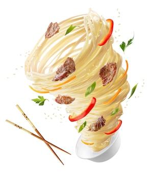 Noedels met groenten en vlees in de vorm van een tornado. houten stokken en een kom noedels, rode pepers, wortelen, uien en vlees. uitknippad.