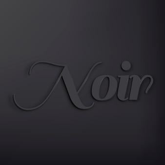 Noir-woord in zwarte 3d-tekststijl
