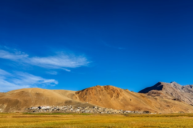 Noord-indiase traditionele korzok dorp op tso moriri, ladakh. 4500 meter boven zee