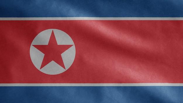 Noord-koreaanse wapperende vlag in de wind
