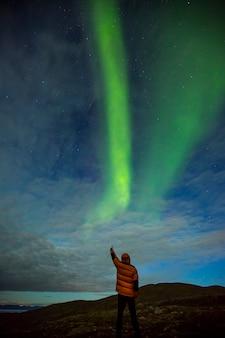 Noorderlicht in nordkapp, noord-noorwegen