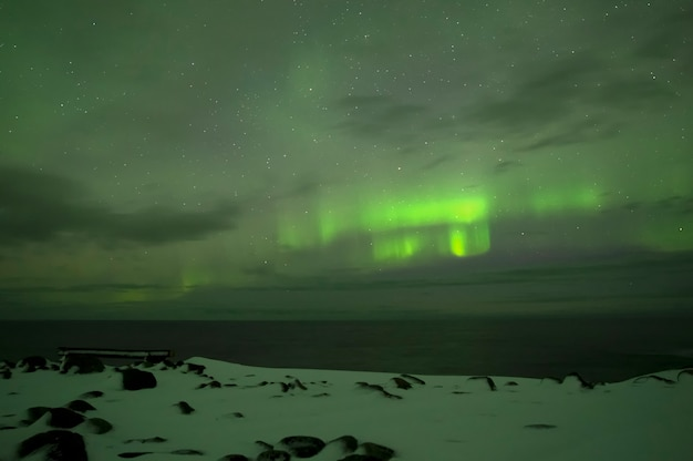 Noorderlicht. noorderlicht. teriberka. moermansk regio. rusland