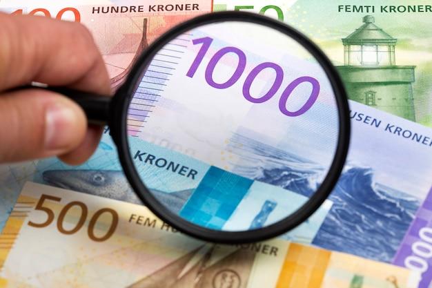 Noors geld in een vergrootglas een bedrijfsachtergrond