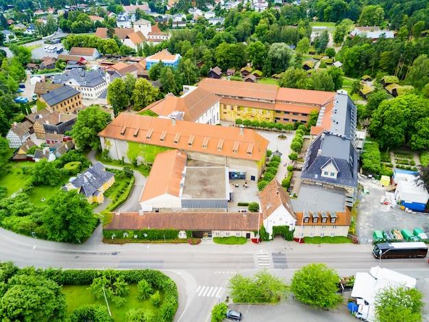 Noors museum voor culturele geschiedenis of norsk folkemuseum luchtfoto panoramisch uitzicht op het schiereiland bygdoy in oslo, noorwegen