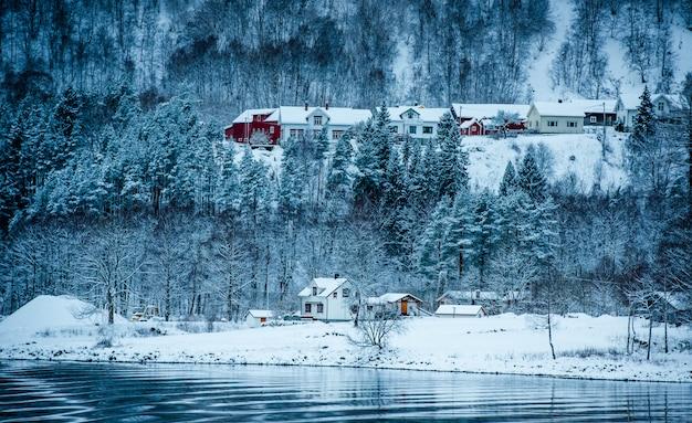 Noorse fjorden in de winter