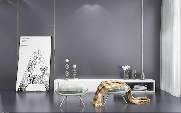 Nordic eenvoudige indoor huiswoonkamer