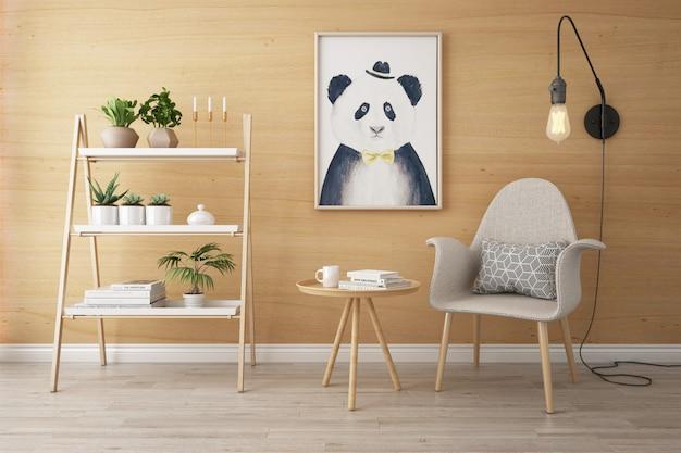 Nordic indoor houten huis woonkamer