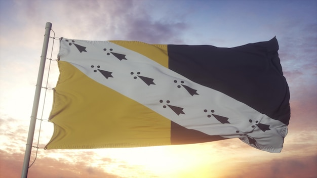 Norfolk vlag, engeland, zwaaien in de wind, lucht en zon achtergrond. 3d-rendering