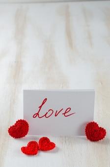 Nota met tekstliefde voor st. valentijnsdag