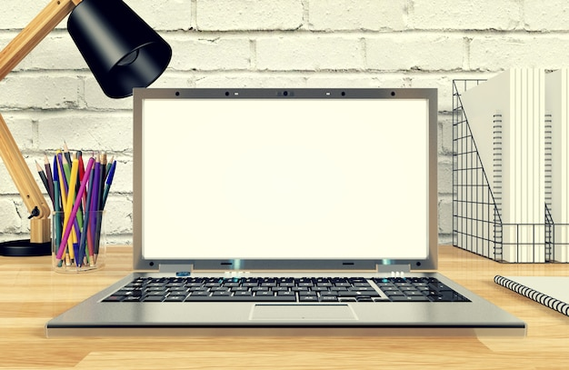 Notebook computer display voor mock-up op werktafel, 3d-rendering