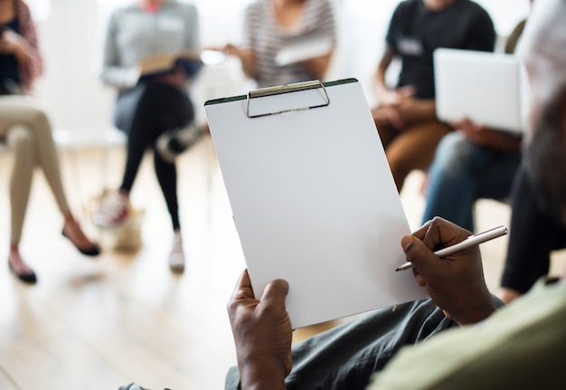 Notebook networking seminar event concept