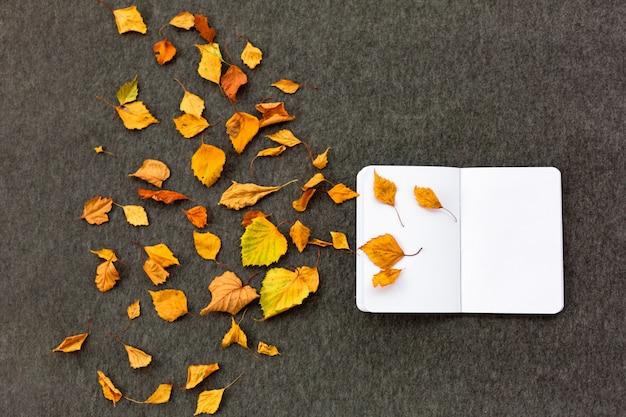 Notitieboekje en de herfstbladeren op grijze achtergrond. het concept van herfstinspiratie en creativiteit.