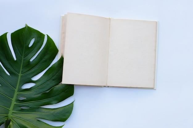 Notitieboekje met groene bladeren op witte muur
