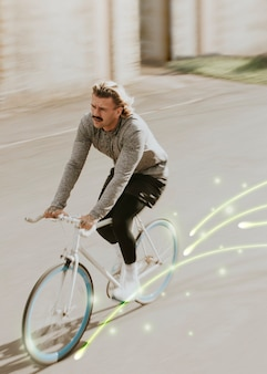 Nul-emissietransport met man-bike-achtergrond