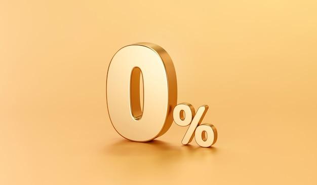Nul percentage gouden bord en verkoopkorting op gouden achtergrond met speciale aanbiedingstarief. 3d-weergave.