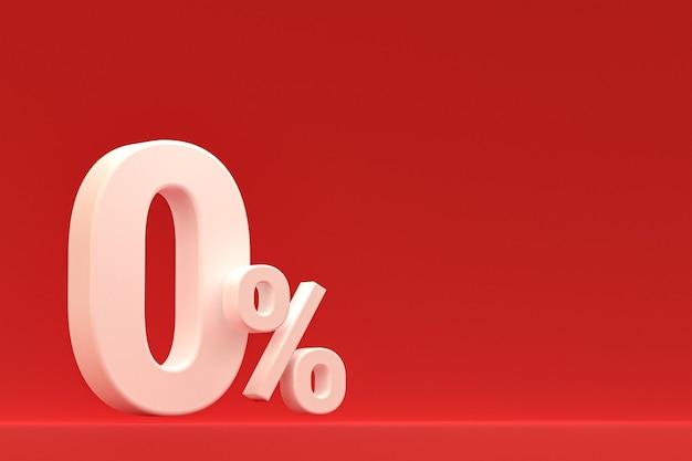 Nul procentteken en verkoopkorting op rode achtergrond met speciaal aanbiedingstarief. 3d-rendering