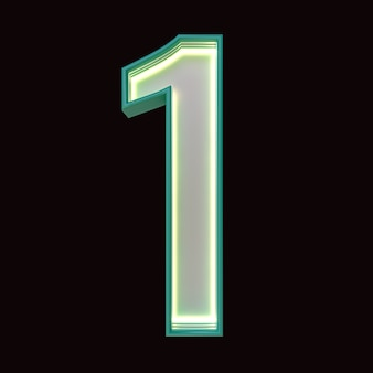 Nummer 1, alfabet. retro 3d-nummer geïsoleerd op een zwarte achtergrond met uitknippad. 3d illustratie.