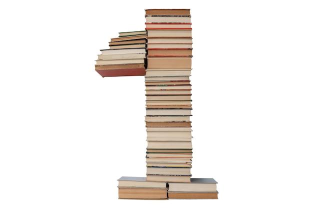 Nummer 1 gemaakt van boeken geïsoleerd op wit
