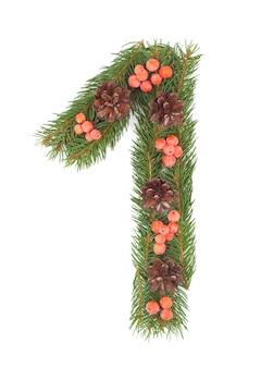 Nummer 1 gemaakt van kerstboom geïsoleerd