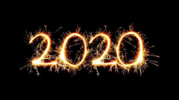 Nummer 2020 geschreven sprankelende sterretjes