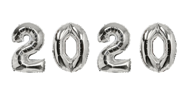 Nummer 2020 van zilveren ballonnen