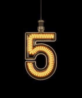 Nummer 5, alfabet gemaakt van gloeilamp.