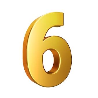 Nummer 6, alfabet. gouden 3d nummer geïsoleerd op een witte achtergrond met uitknippad. 3d illustratie.