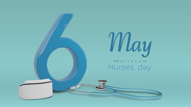 Nummer 6 en esthetoscope renderen op blauwe achtergrond met tekst voor 6 mei nurses day