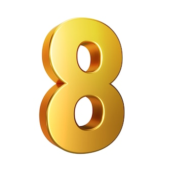 Nummer 8, alfabet. gouden 3d nummer geïsoleerd op een witte achtergrond met uitknippad. 3d illustratie.