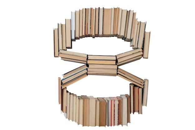 Nummer 8 gemaakt van boeken geïsoleerd op wit