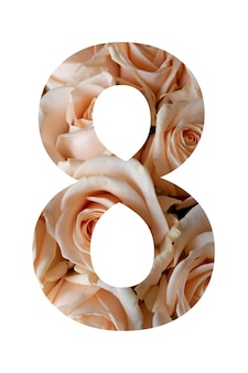 Nummer acht van roze bloemen op een witte muur,