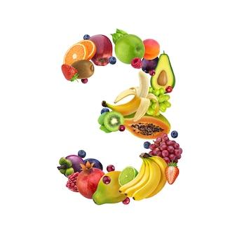 Nummer drie gemaakt van verschillende soorten fruit en bessen