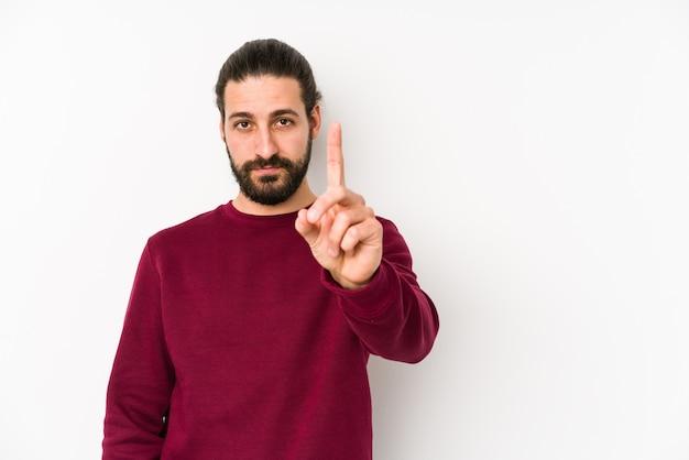 Nummer één met vinger tonen.