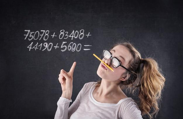 Nummer in een schoolbord