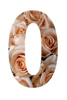 Nummer nul van roze bloemen op een witte muur,